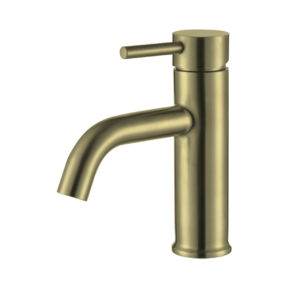 Brushed gold basin mixer